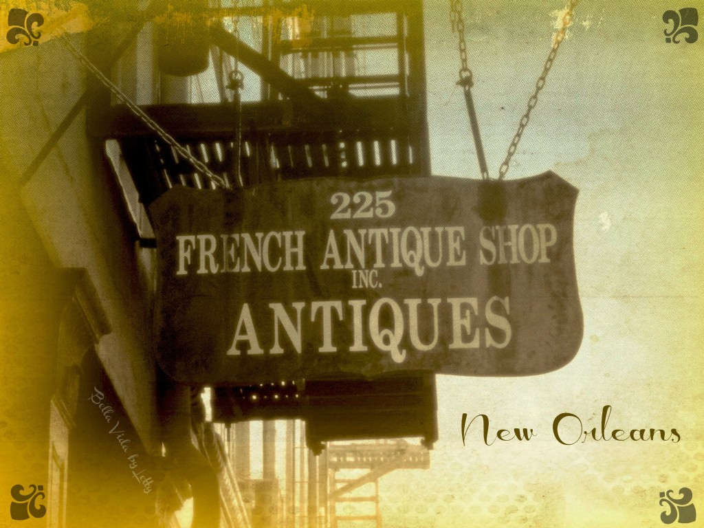 French Antique shop sign postcard French Quarter New Orleans