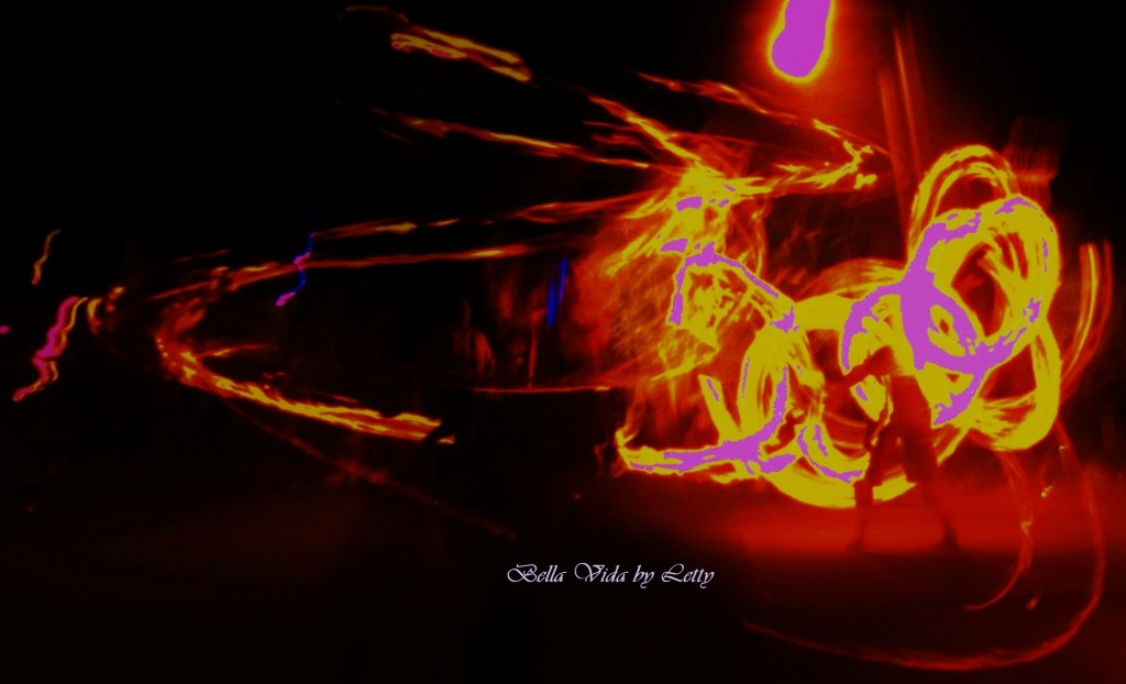 Fire dancer light graffiti photography